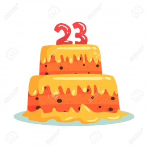 Birthday cake with number 23, celebration party symbol cartoon vector Illustration isolated on a white background